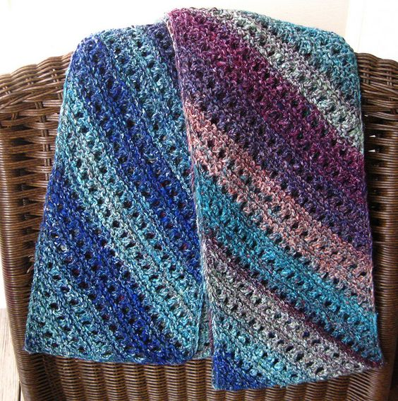 Knitting On The Bias Patterns : Noro bias lace scarf by susan ashcroft knit crochet