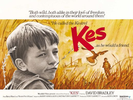 Film poster for the classic British movie, Kes (1969), starring David Bradley as the 15 year old Billy Casper, growing up in a Yorkshire mining town.