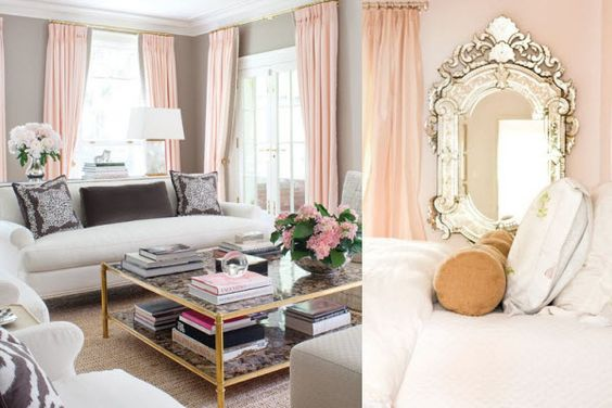 blush curtains and accents