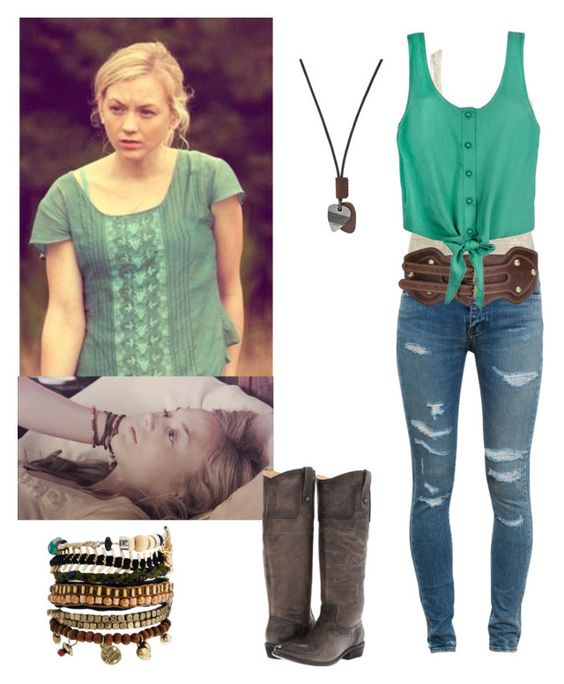 """Beth Greene inspired outfit"" by shadyannon ❤ liked on Polyvore featuring Arden B., Yves Saint Laurent, FOSSIL, Pull&Bear and Frye"