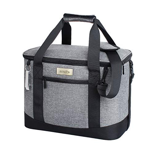 Esafio Collapsible Insulated Cooler Bag 18l 34 Can Large Leakproof Soft Sided Portable Cooler Bag For Outdoor Travel Beach Picnic Camping Bbq Party Grey Beach Picnic Camping Bbq Portable Cooler