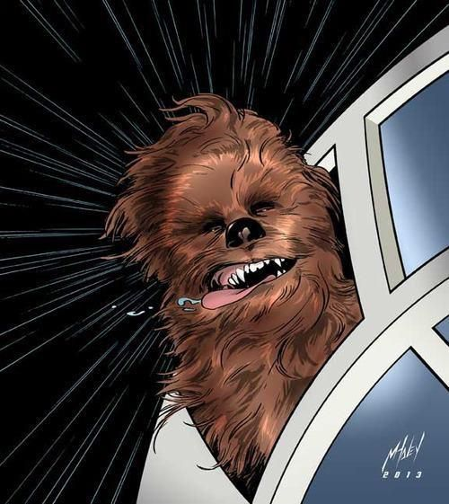 Chewbacca sticks his head out the window of the Millennium Falcon on a Joy Ride!! Star Wars Art.: