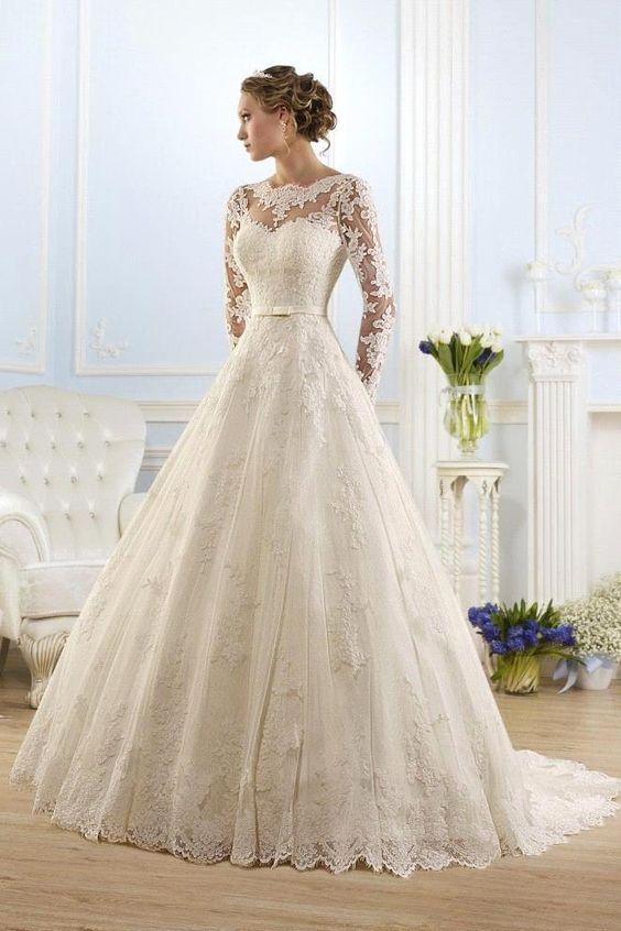 pas cher nouvellement robe de mariage romantique douce manches longues robes de mari e 2016. Black Bedroom Furniture Sets. Home Design Ideas