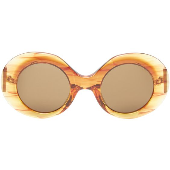 The Row Oversized Tinted Round Frame ($99) ❤ liked on Polyvore featuring accessories, eyewear, sunglasses, unknown, oversized sunglasses, tinted lens glasses, over sized sunglasses, round frame sunglasses and lens glasses