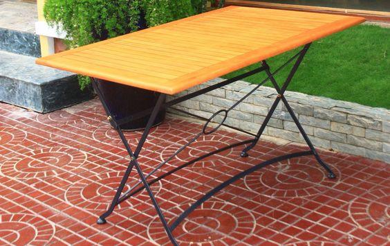 Holz-Metall Gartentisch Anastasia (rechteckig) - Metall, Eiche