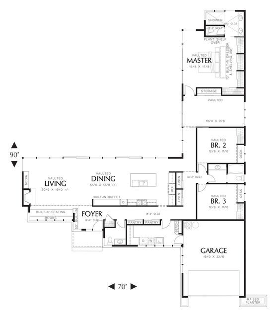 L Shaped Ranch Style Houses Flip Image Modern Style House Plans Contemporary House Plans Modern House Plans