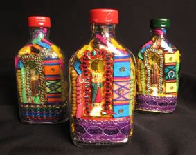 Altar decorations bottle and the o 39 jays on pinterest for Day of the dead craft supplies