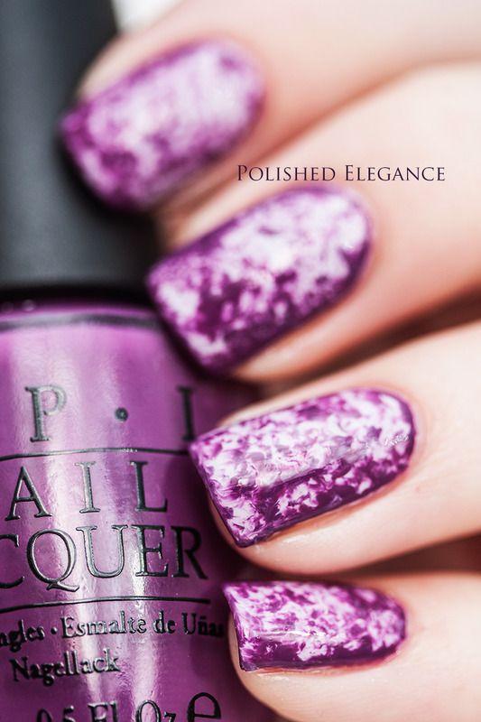 Purple saran wrap nail art by Lisa