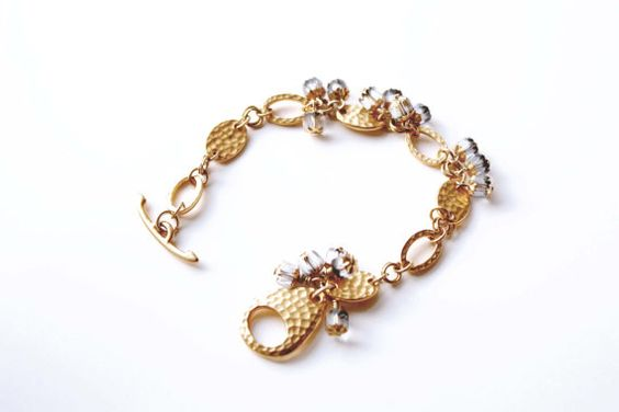 Bracelet -22K Gold Plated Hammered Links and Czech Cathedral Beads