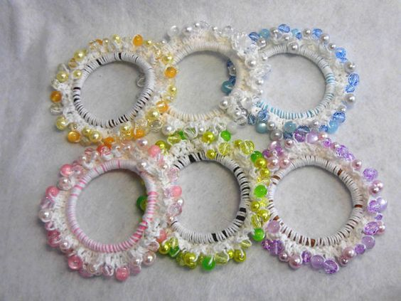 "Japanese hand kawaii shushu / Sparkle Plastic beads Crocheted Scrunchie - 3.5""(9cm) #81"