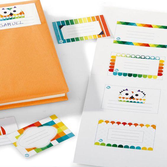 Étiquettes hiboux à imprimer pour les cahiers d'école, proposées par Wesco #Wesco