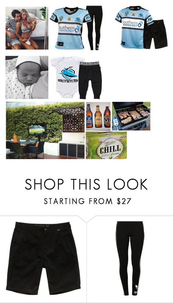 """""""Watching the grand final"""" by cleo-scott ❤ liked on Polyvore featuring Hurley, adidas Originals and Bonds"""