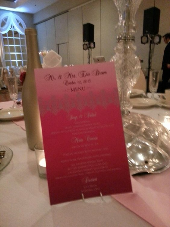 Pink ombre menu cards