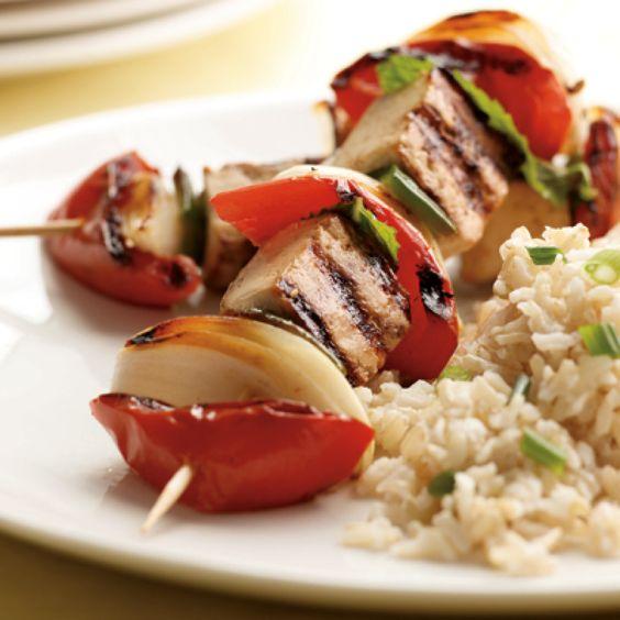 Minted Tomato, Onion And Glazed Tofu Kebabs