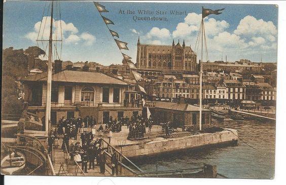 White Star Line Wharf at Queenstown Titanic Departure Point WSL Burgee Flying | eBay