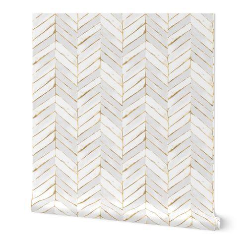 Chevron Painted White Gold Chevron Wallpaper Removable Wallpaper Wallpaper Roll