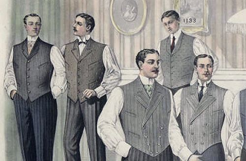 "Men's vests; fashion plate from the Met Museum fashion plate collection category ""1900-1919 men"""