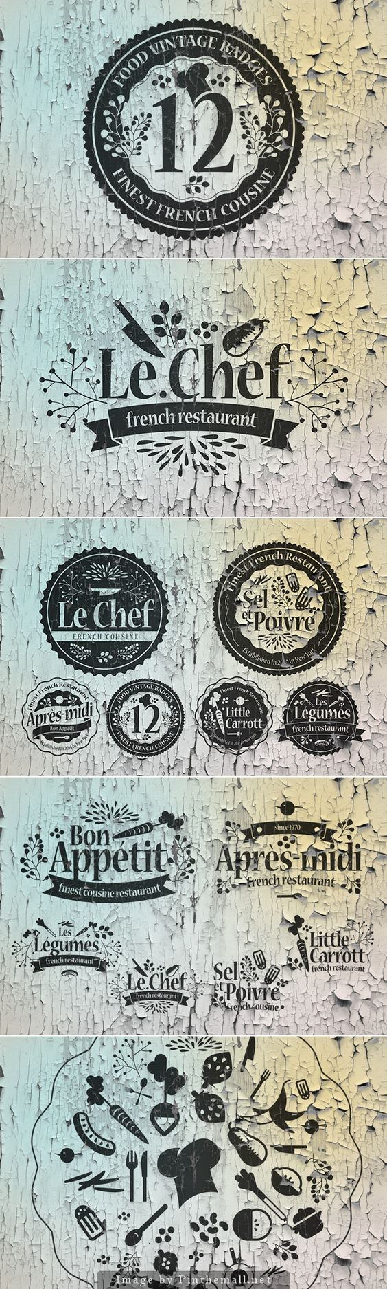 12 Food Vintage Badges i like the cohesiveness of this collection of symbols and what they communicate