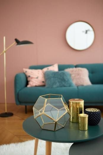 Living Room Pink Emerald And Gold Accents Pink Living Room
