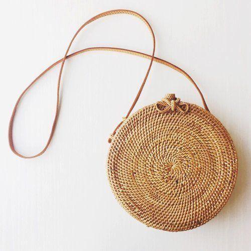 Handwoven Bali Round Crossbody Straw Rattan Bag Seagrass
