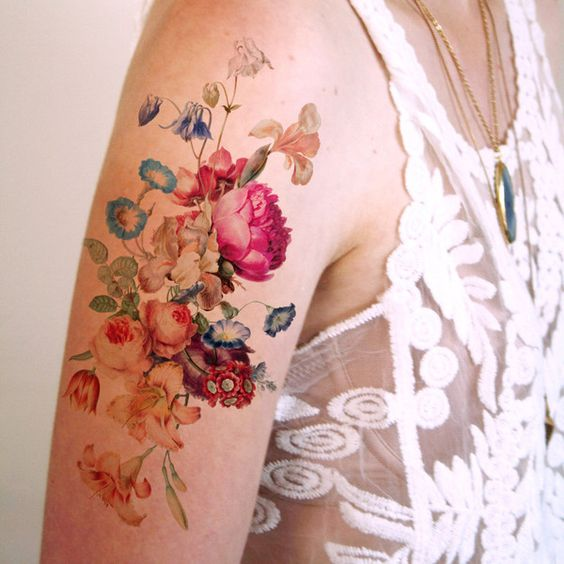 Beautiful large vintage floral temporary tattoo vintage for Floral temporary tattoos