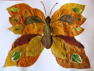 Een vlinder knutselen met bladeren