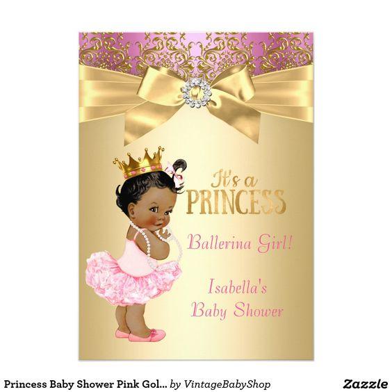 princess baby shower pink gold ballerina ethnic card   <3 my, Baby shower invitations
