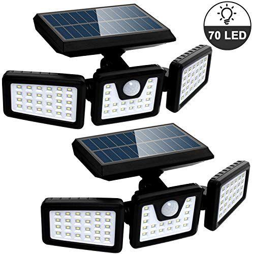 Solar Lights Outdoor With Motion Sensor 3 Heads Security Lights Solar Powered 70 Led Flood Light Motion Det In 2020 Outdoor Solar Lights Security Lights Solar Lights