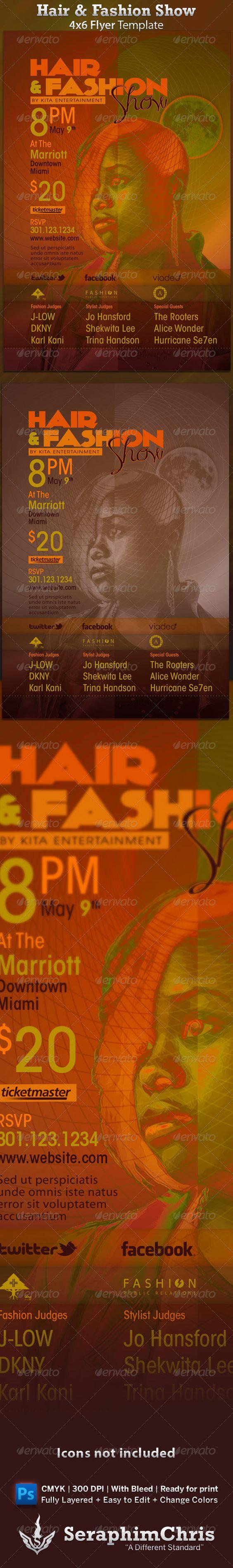 Hair & Fashion Show Flyer Template $6.00