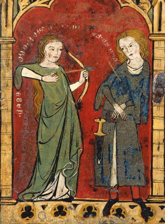 second quarter of the 14th century Germany - Uppher Rhineland details of tempera paintings on oaken coffret (Minnekästchen) source (Met)