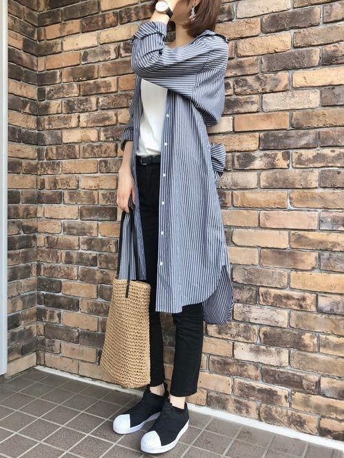 はれ uniqloのシャツワンピースを使ったコーディネート wear ファッション シャツワンピース ファッションコーデ