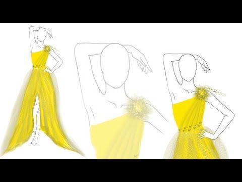 How To Create A Yellow Dress طريقة تصميم فستان أصفر Youtube Fashion Design Yellow Dress Yellow