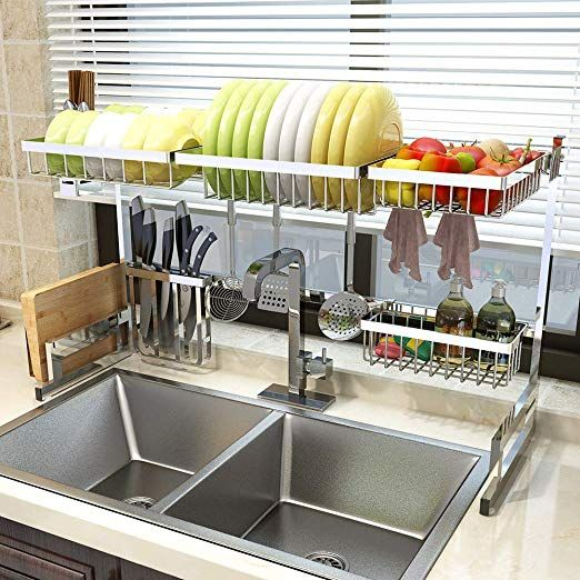 Amazon Com Over Sink 33 Dish Drying Rack 2 Cutlery Holders Drainer Shelf For Kitchen Supplies S Dish Rack Drying Sink Sizes Stainless Steel Kitchen Shelves