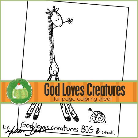 God Loves Creatures Coloring Page