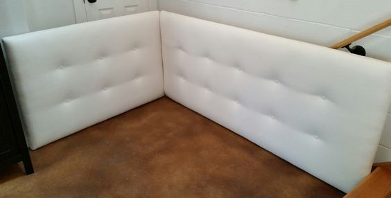 Corner day bed tufted upholstered headboard custom wall for Corner bed headboard ideas