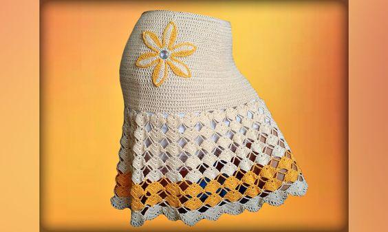 Юбка, вязание крючком для начинающих. Crochet  fashion skirt.