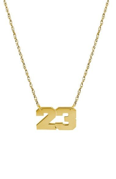 Women's Jane Basch Designs Personalized Varsity Number Pendant Necklace - Gold