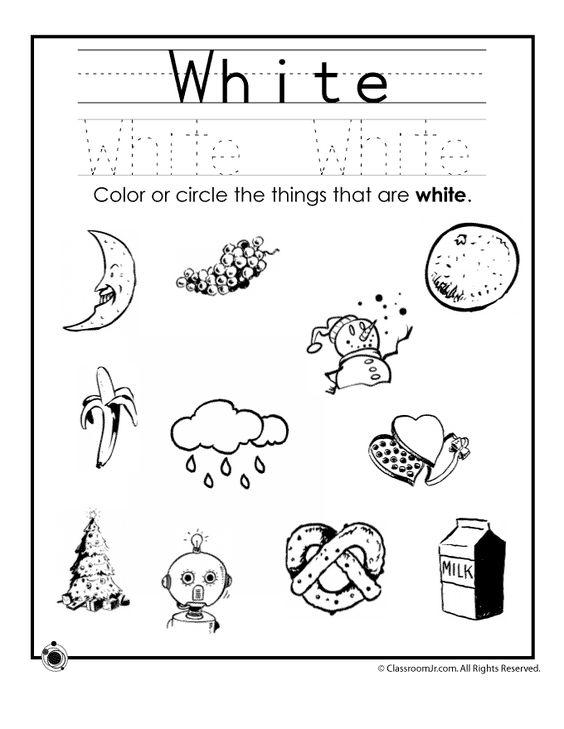 Learning Colors Worksheets for Preschoolers Color White Worksheet ...