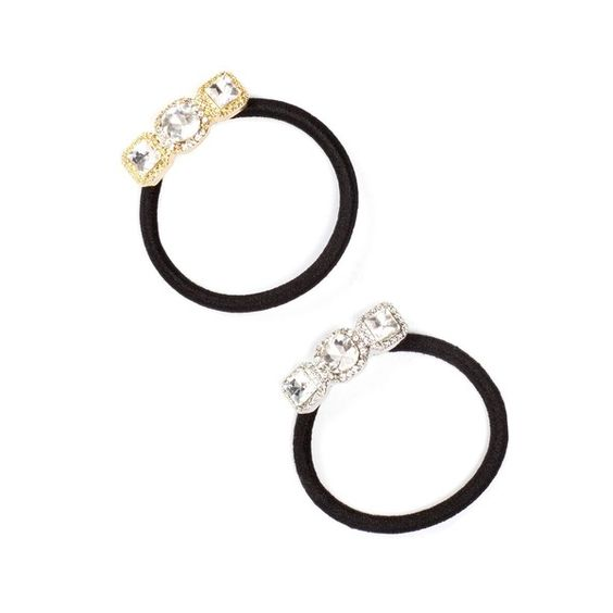 Cara Accessories Square Crystal Pony Tail Hair Ties - Pack of 2 ($8.97) ❤ liked on Polyvore featuring accessories, hair accessories, crystal hair accessories, cara accessories, elastic hair ties and ponytail hair ties