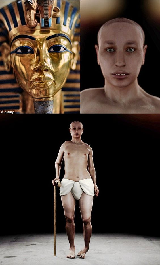 The REAL face of King Tut: Pharaoh had girlish hips, a club foot and buck teeth according to 'virtual autopsy' that also revealed his parents were brother and sister  With strong features cast in burnished gold, Tutankhamun's burial mask projects an...