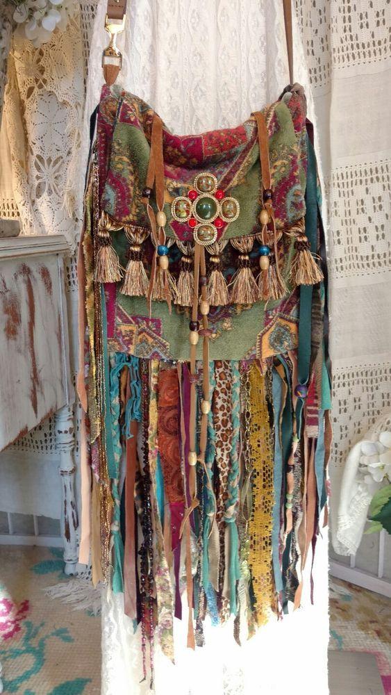 Handmade Ibiza Festival Fringe Cross Body Bag Hippie Boho Gypsy Purse tmyers #Handmade #MessengerCrossBody