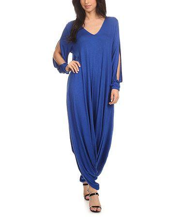 Another great find on #zulily! Blue Long-Sleeve Handkerchief Jumpsuit #zulilyfinds