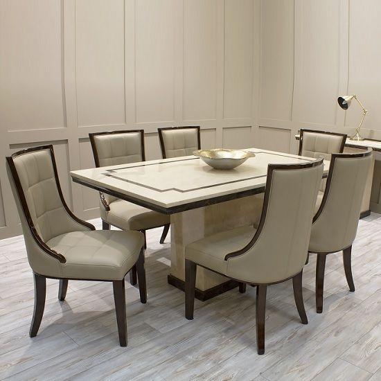 Trento Hochglanz Marmor Esstisch In Beige Und 6 Stühlen Beige Beigemarbletabledining Ess Dining Table Marble High Dining Table Marble Dining