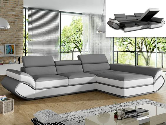 canap angle droit convertible orleans pas cher simili gris blanc prix promo canap vente unique. Black Bedroom Furniture Sets. Home Design Ideas