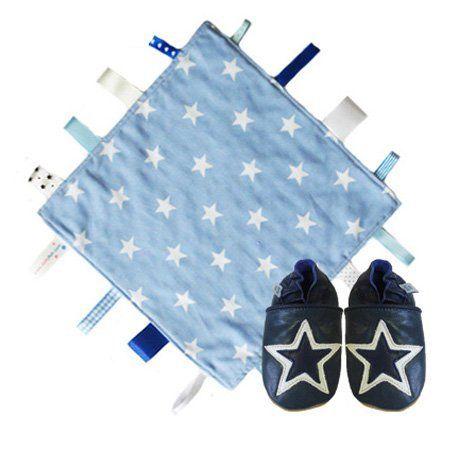 Dotty Fish blaue Sternendecke Steppdecke & dunkelblaue und weiße Sterne weiche Leder Babyschuhe Geschenkset. Junge. 0-6 Monate Dotty Fish, http://www.amazon.de/dp/B00E6PIK2K/ref=cm_sw_r_pi_dp_KuCdsb0WGH3RN