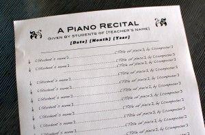 Piano Recital Program Template #1
