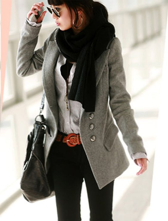 Fall / Winter Grey Slim Woolen Coat