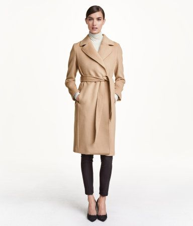 Fitted camel trench coat with tie belt in a felted wool blend