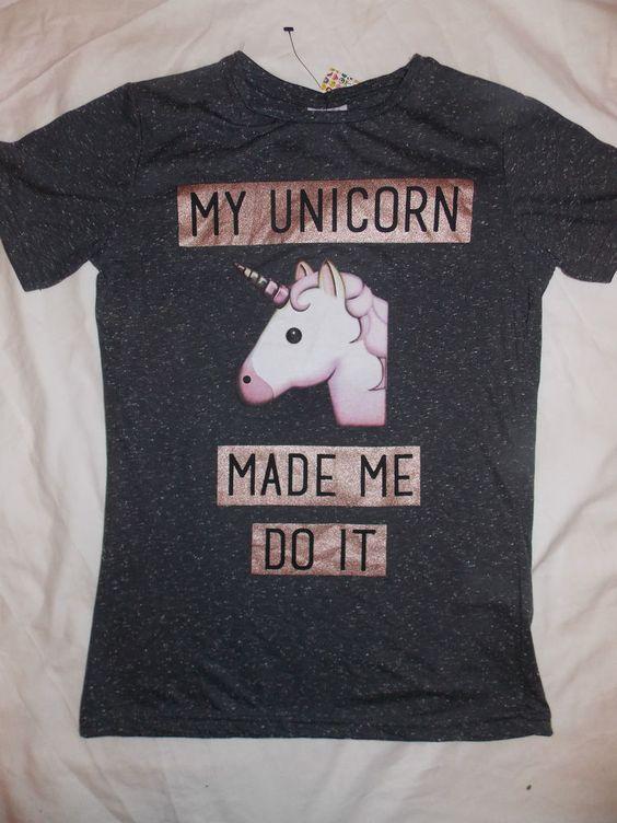 UNICORN EMOJI Ladies T Shirt Primark MY UNICORN MADE ME DO IT Tee Top  #Primark #Graphic