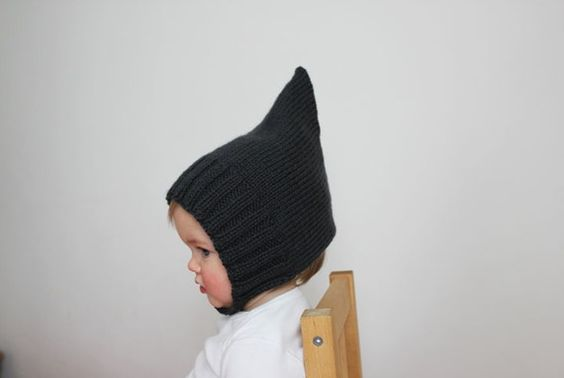 Simple Ribbed Pixie Bonnet  Slate Gray  Vintage by sweetKM on Etsy